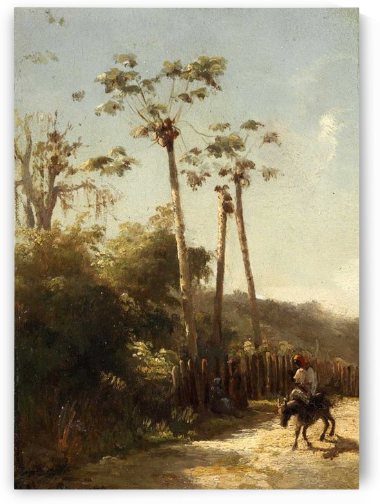 Landscape of Antilles, Donkey's Rider on the Road by Camille Pissarro