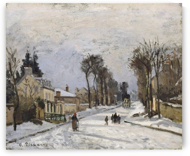 Woman and Child on the Way, Winter by Camille Pissarro