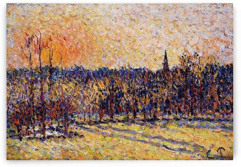 View of Bazincourt, the Mist by Camille Pissarro