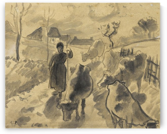 Girl Leading a Herd of Cows along the Road by Camille Pissarro