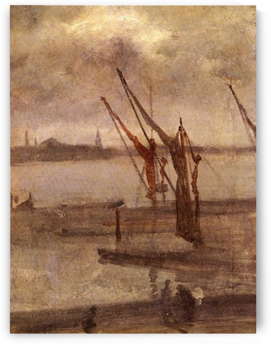 Dockyard of Chelsea, grey and silver by Whistler by Whistler
