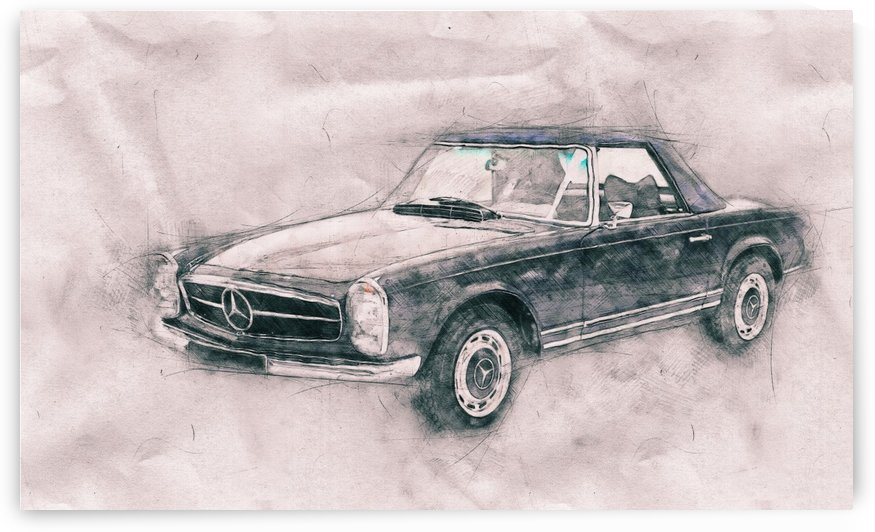 1967 Mercedes Benz 280SL Roadster -  Automotive Art - Car Poster by Studio Grafiikka