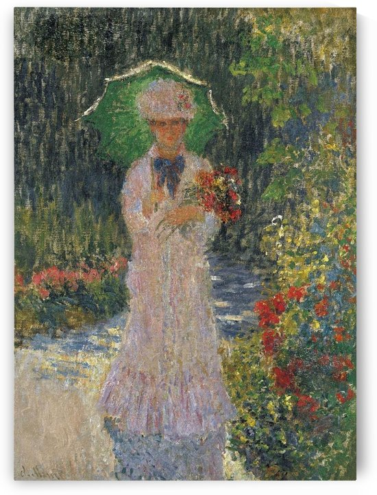 Camille with Green Umbrella by Claude Monet