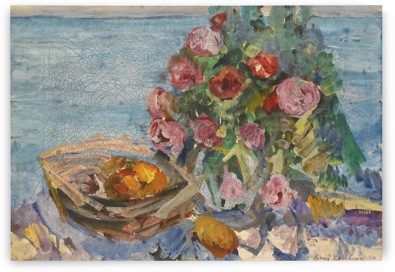 Still Life with Roses and Fruits by Constantin Korovin