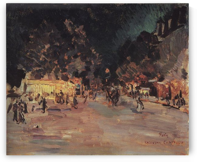 Parisian Boulevard by Night 01 by Constantin Korovin