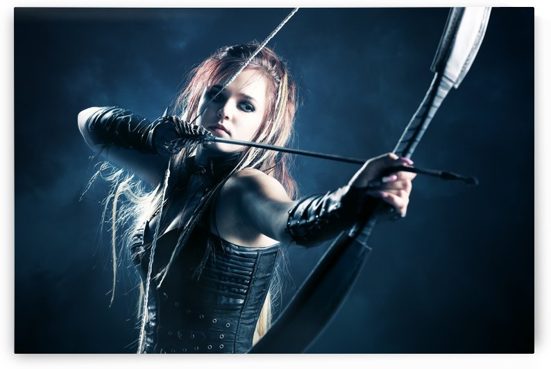 Woman archer aiming arrow by Johan Swanepoel