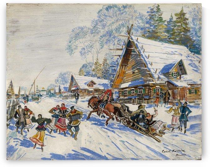 Village in Winter by Constantin Korovin