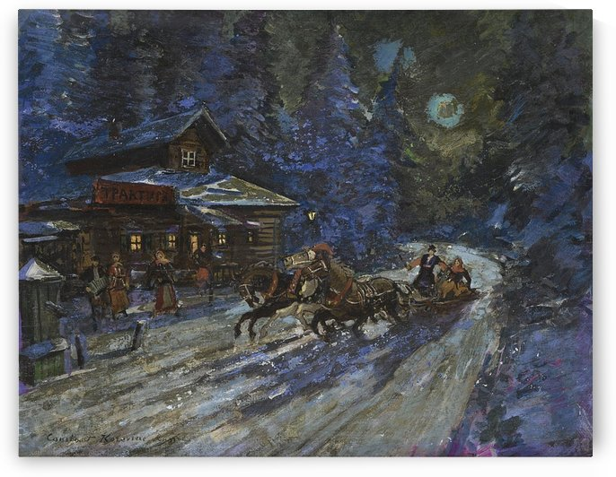 Moonlit Troika Ride by Constantin Korovin