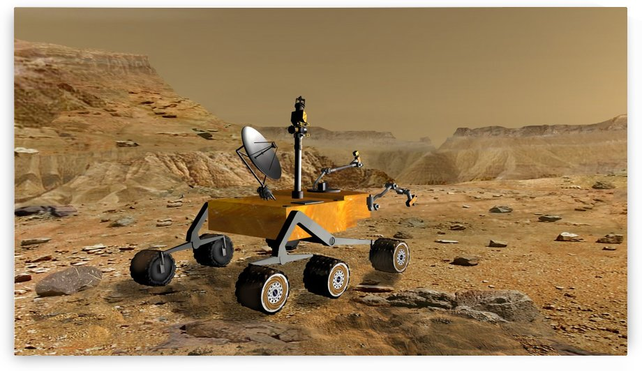 Mars Science Laboratory travels near a canyon on Mars. by StocktrekImages