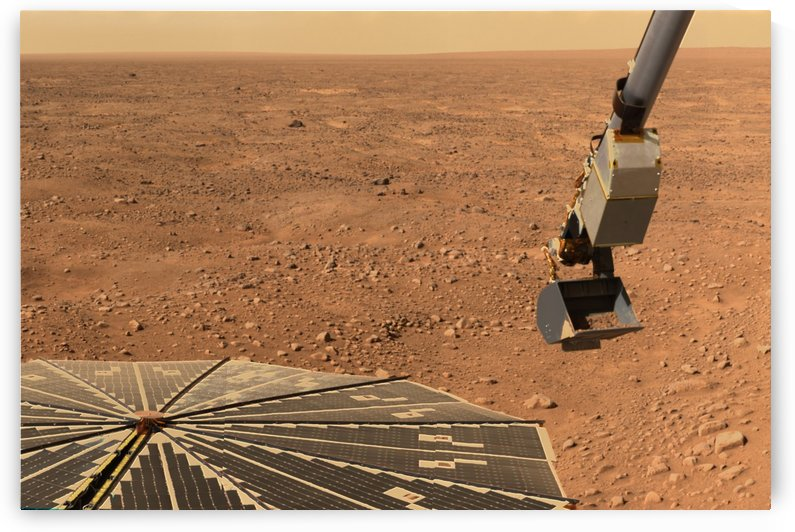 Phoenix Mars Lander's solar panel and the lander's Robotic Arm with a sample in the scoop. by StocktrekImages
