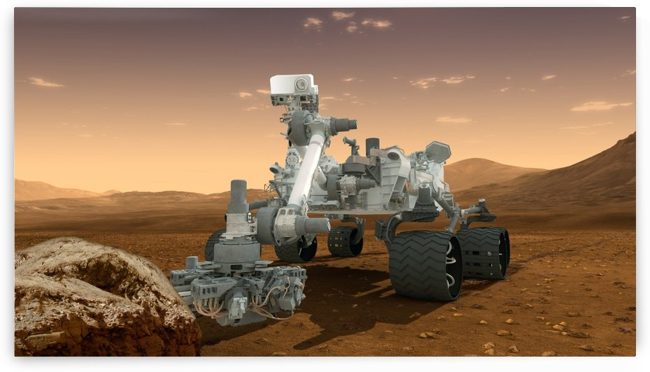 Artists concept of NASAs Mars Science Laboratory Curiosity rover. by StocktrekImages