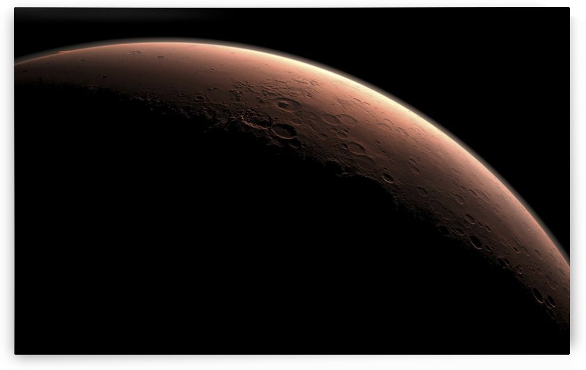 Illustration depicting part of Mars at the boundary between darkness and daylight. by StocktrekImages