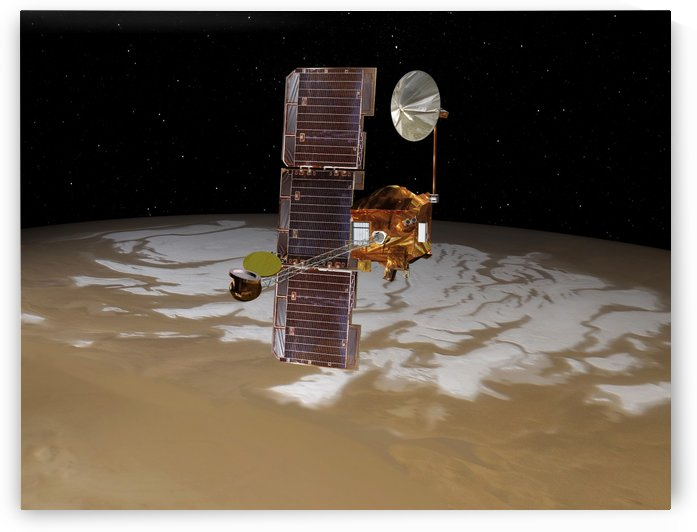 Mars Odyssey spacecraft passes above Mars south pole. by StocktrekImages