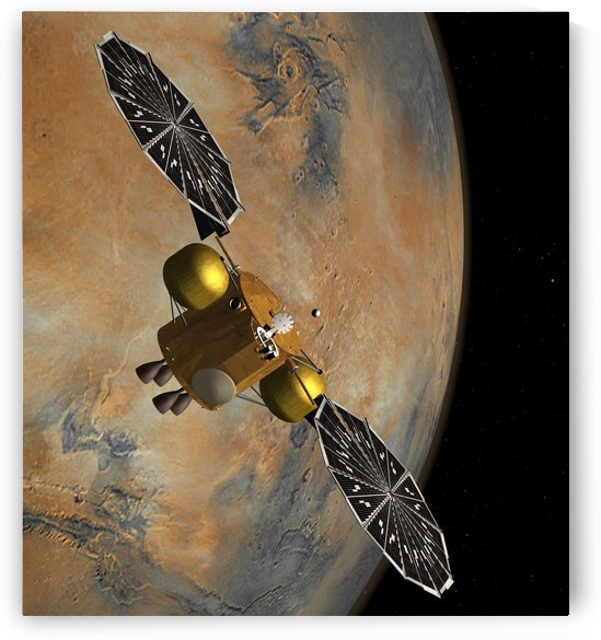 Artists concept of a spacecraft orbiting Mars. by StocktrekImages