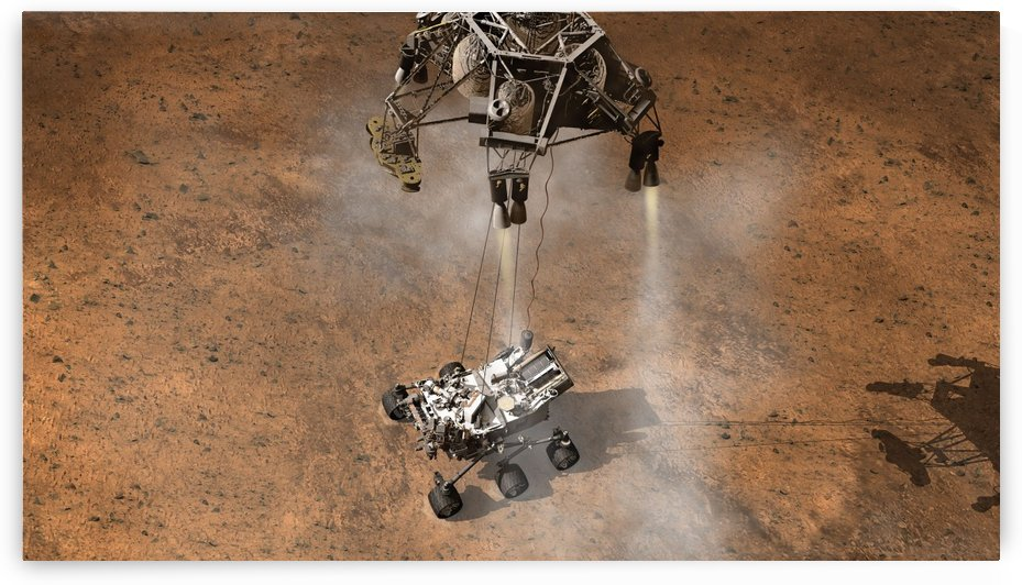 Artists concept of NASAs Curiosity rover touching down onto the Martian surface. by StocktrekImages