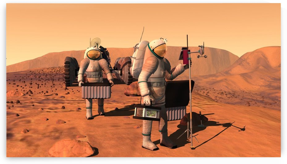 Artists concept of astronauts setting up weather monitoring equipment on Mars. by StocktrekImages