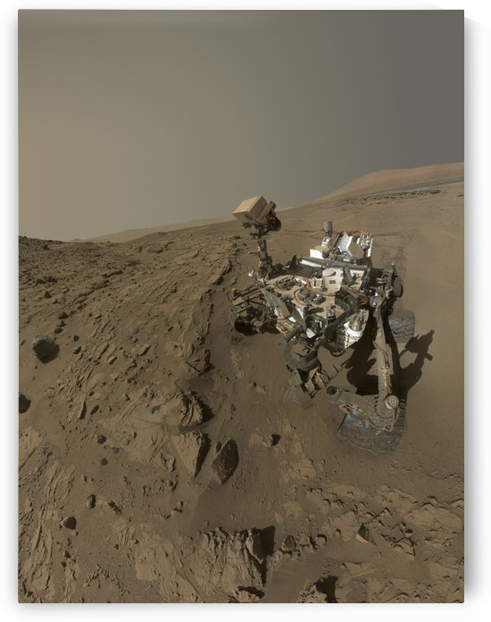 NASAs Curiosity Mars rover on planet Mars. by StocktrekImages