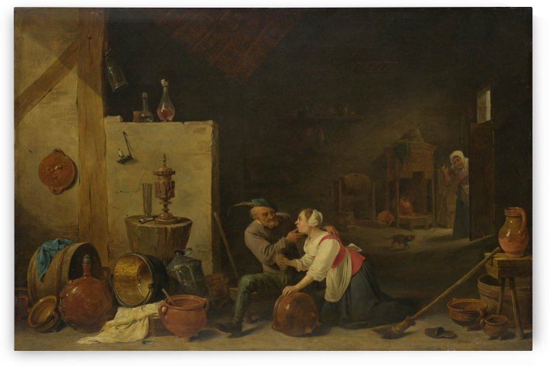 An Old Peasant caresses a Kitchen Maid in a Stable by David Teniers the Younger