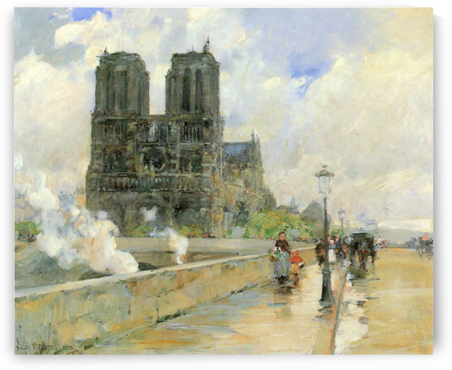 Cathedral of Notre Dame, 1888 by Hassam by Hassam