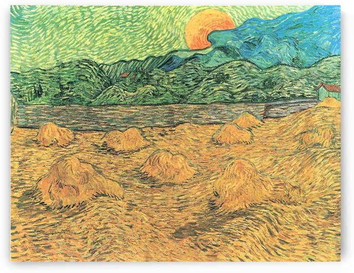 Evening landscape at moonrise by Van Gogh by Van Gogh