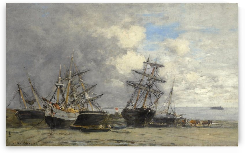 Portrieux, Vessels on the Sand by Eugene Boudin