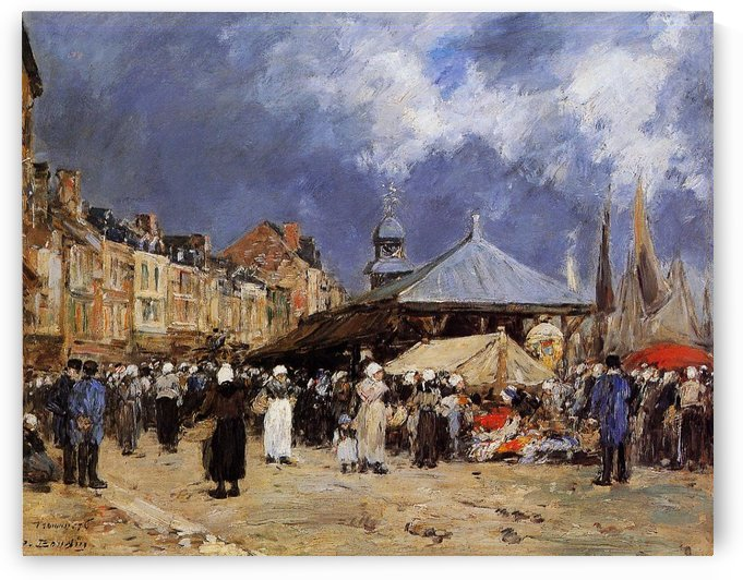 Trouville, Fishing Market by Eugene Boudin
