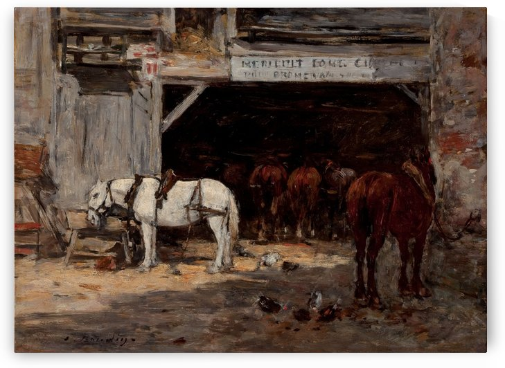 Stables with Horses for Rent by Eugene Boudin