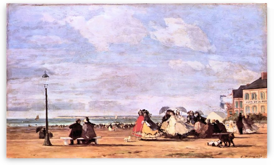 Scene on the Beach, Trouville by Eugene Boudin