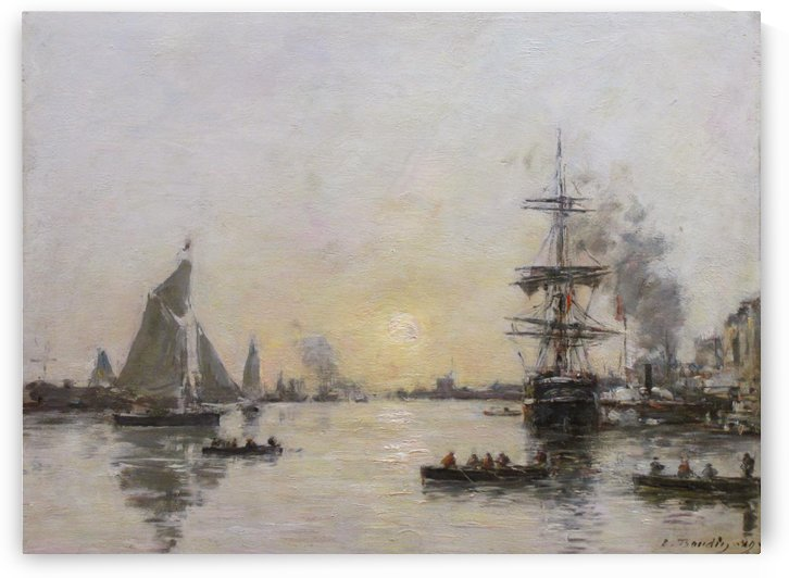 Havre, The Avant Port, Sun Down by Eugene Boudin