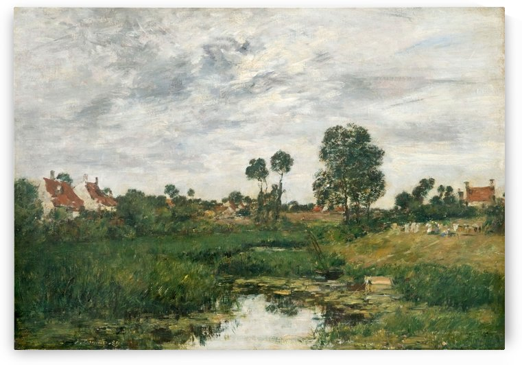 Village in Normandie on the Riverbank by Eugene Boudin