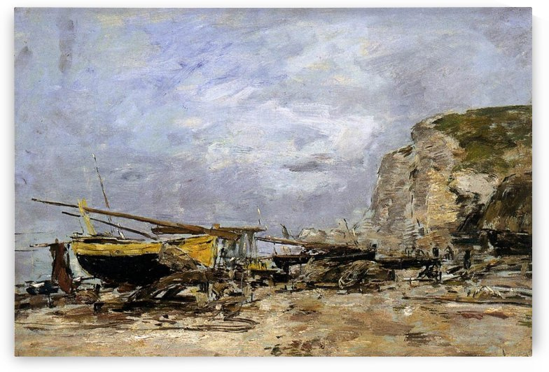 Etretat, Fishing Boats and Fishers at the Beach by Eugene Boudin