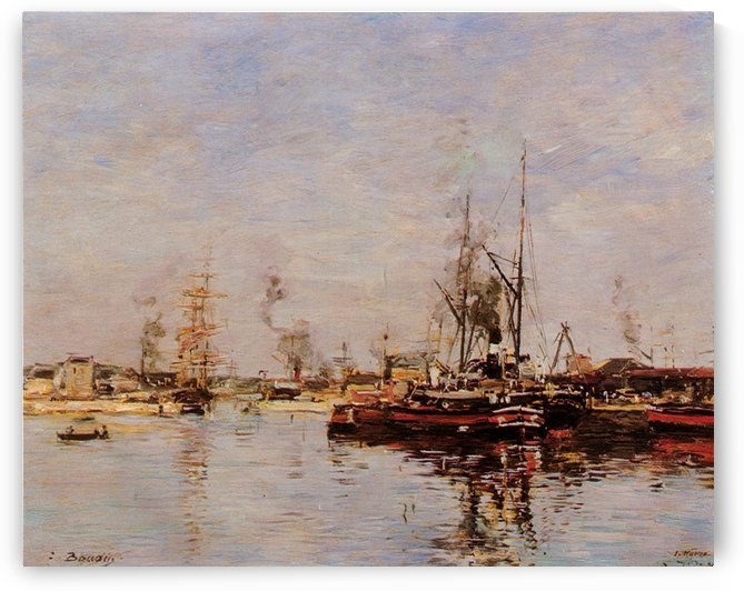 Etaples, Boats at the Port by Eugene Boudin