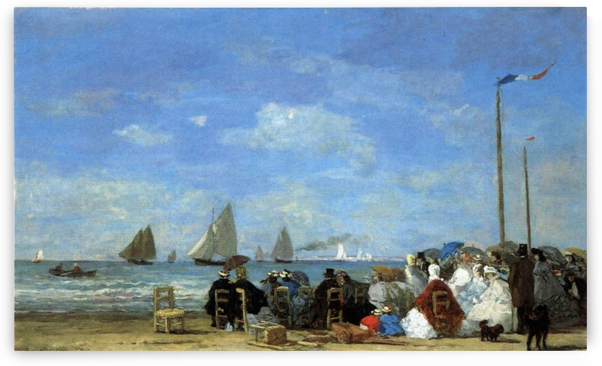 Scene on the Beach at Trouville by Eugene Boudin