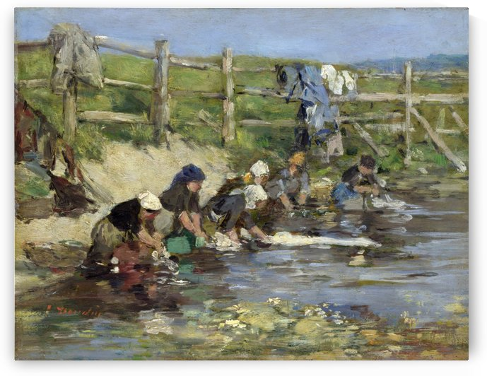 Laundresses by a Stream by Eugene Boudin