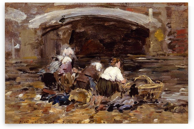 The Laundresses near the Bridge by Eugene Boudin
