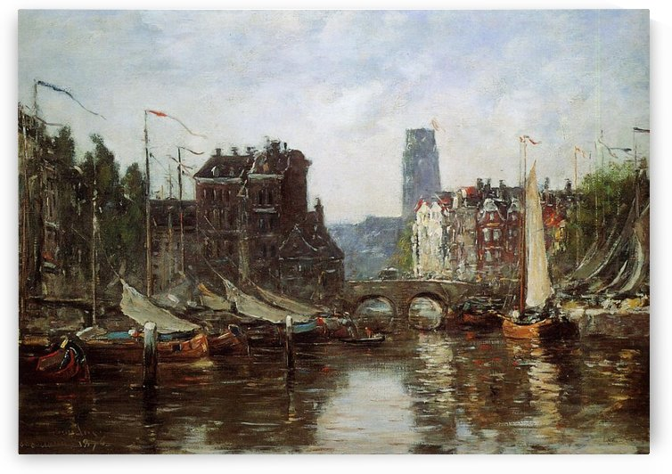Rotterdam the Bridge of Bourse (2) by Eugene Boudin