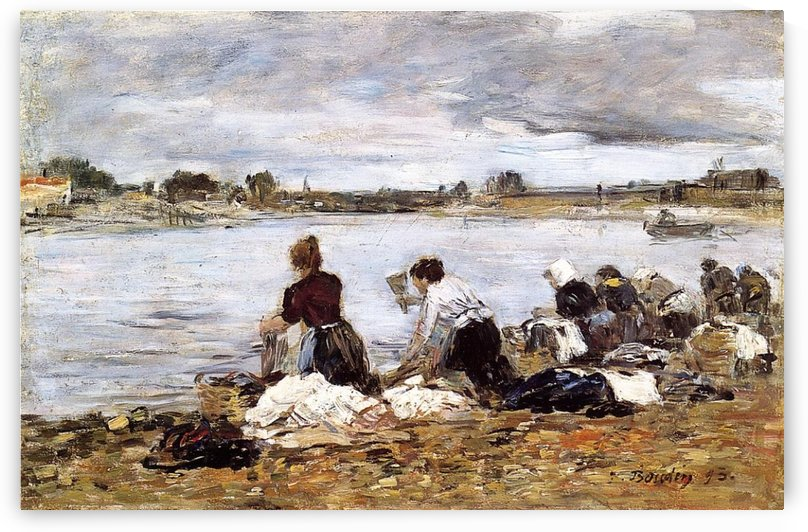 Laundresses at the bank of the Touques by Eugene Boudin