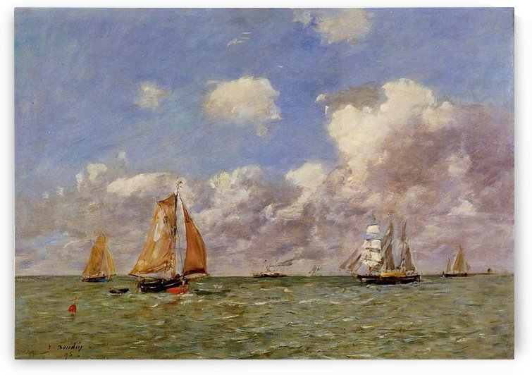 Boats in the Sea by Eugene Boudin