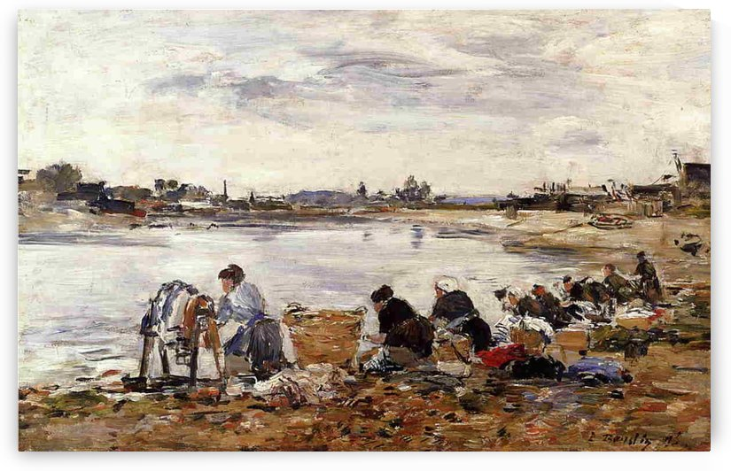 Laundresses at the Bank of the River by Eugene Boudin
