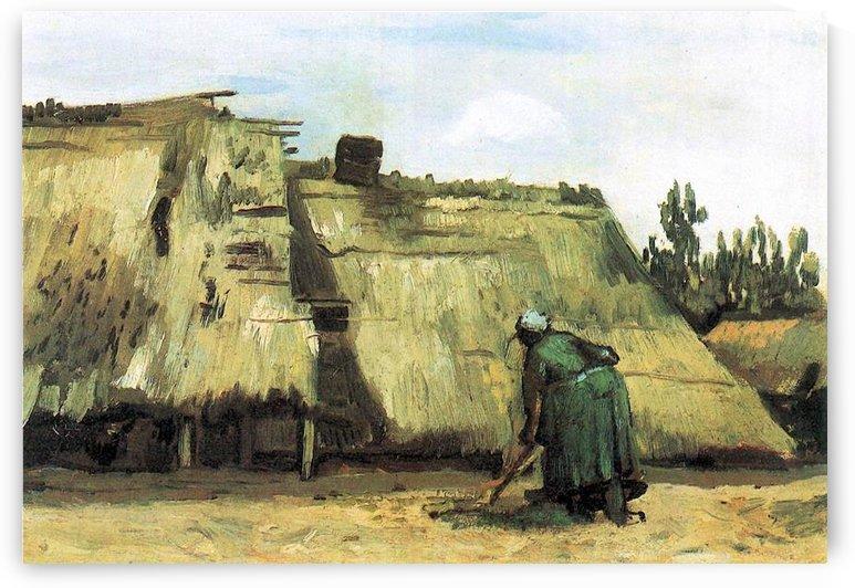 Farmhouse with farmer digging by Van Gogh by Van Gogh