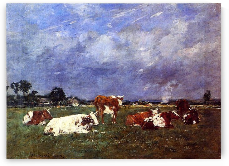 Cows at the Pasture by Eugene Boudin
