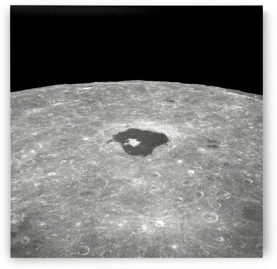 View of the large crater Tsiolkovsky on the lunar surface. by StocktrekImages