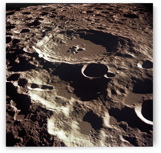 An oblique view of the Crater Daedalus on the moon. by StocktrekImages
