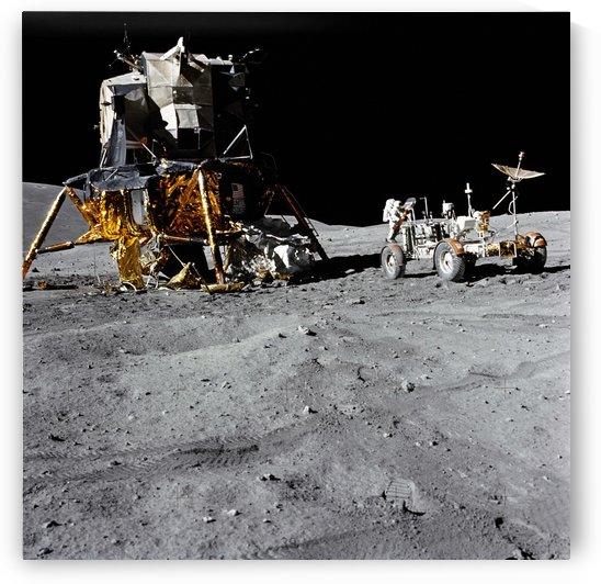 The Lunar Module and Lunar Roving Vehicle during an Apollo 16 moonwalk. by StocktrekImages