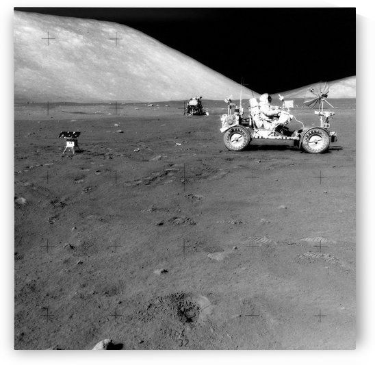 Apollo 17 image of land rover on moon. by StocktrekImages