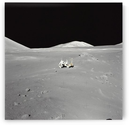 An astronaut working at the Lunar Roving Vehicle during Apollo 17. by StocktrekImages