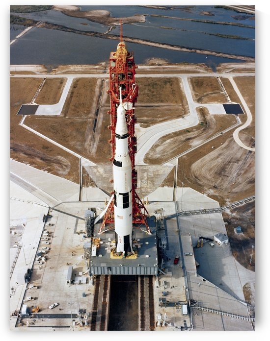 High-angle view of the Apollo 10 space vehicle on its launch pad. by StocktrekImages