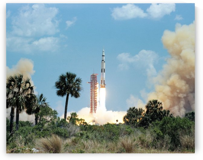 The Apollo 16 space vehicle is launched from Kennedy Space Center. by StocktrekImages