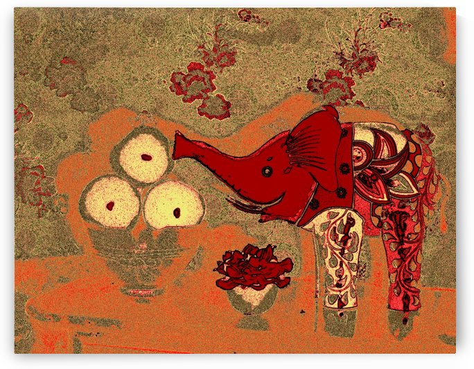 Elephant Lunch -- Antique Gold & Orange by Jayne Somogy