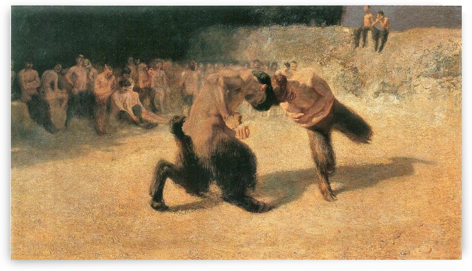 Fighting Faune -1- by Franz von Stuck by Franz von Stuck